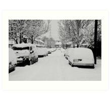 Snow Street Scene Art Print