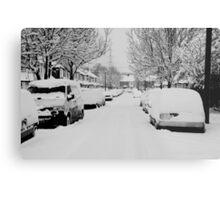 Snow Street Scene Metal Print
