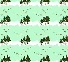 Mint Forest Pattern by Christina Rollo