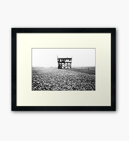 stilt house at the beach Framed Print