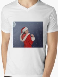Beautiful young female  with Christmas gift Mens V-Neck T-Shirt