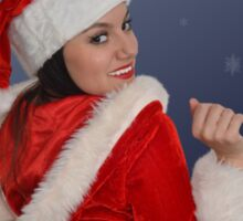 Beautiful young female  with Christmas gift Sticker
