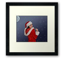 Beautiful young female  with Christmas gift Framed Print