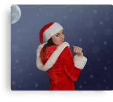 Beautiful young female  with Christmas gift Canvas Print