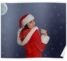 Beautiful young female  with Christmas gift Poster