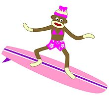 Sock Monkey Surfer Girl by pounddesigns