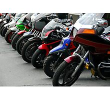 Row of motorcycles Photographic Print