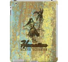 Surf Shack Hawaiian Weathered Faux Wood Design - Aqua and Yellow iPad Case/Skin