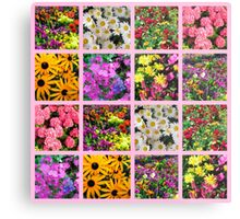 COLORFUL WILD FLOWER PHOTO COLLAGE Metal Print