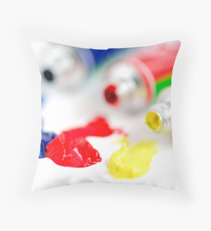 Primary colors paint Throw Pillow