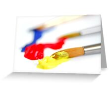 Primary colors paintbrush Greeting Card