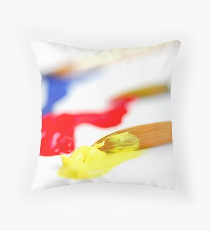 Primary colors paintbrush Throw Pillow