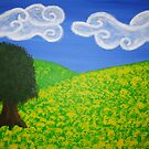 Canola field and tree by Christiaan
