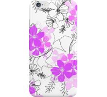 Midnight Garden Hawaiian Hibiscus Print - Violet on White iPhone Case/Skin