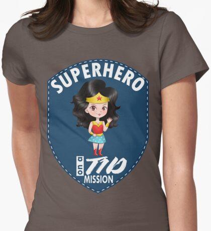 Superhero on a T1D mission - Diabetes superhero, superwomen, t1d, diabetes type 1, diabetics, type one, mission, hero Womens Fitted T-Shirt