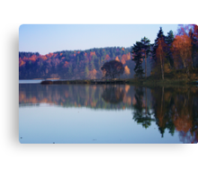 Silence in the autumn lake Canvas Print
