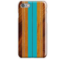 Nalu Mua Hawaiian Faux Koa Wood Surfboard - Teal iPhone Case/Skin