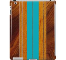 Nalu Mua Hawaiian Faux Koa Wood Surfboard - Teal iPad Case/Skin
