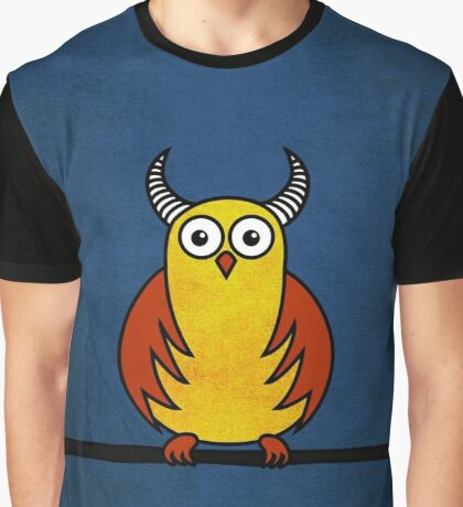 Funny Cartoon Horned Owl  Graphic T-Shirt