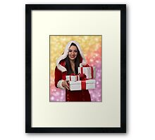 Christmas girl with gift Framed Print