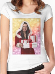 Christmas girl with gift Women's Fitted Scoop T-Shirt
