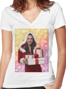Christmas girl with gift Women's Fitted V-Neck T-Shirt