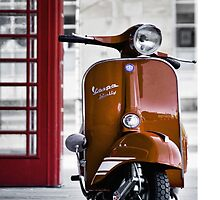 Italian Orange Vespa Rally 200 Scooter by AJ Airey