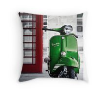 Italian Green Vespa Rally 200 Scooter Throw Pillow