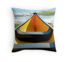 Yellow boat Throw Pillow