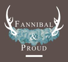 'Fannibal & Proud' w/ Flower (Black Background/White Font) by tirmedesign