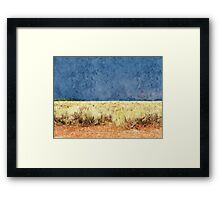 summer dry yellow grass and land under dark stormy clouds sky. Grand Teton National Park. Framed Print