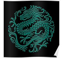 Traditional Teal Blue Chinese Dragon Circle Poster