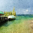 Landscape picture of lake, boats, blue sky and trees at Grand Teton National Park. Digital oil painting style. by naturematters