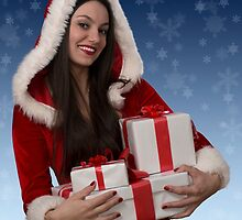Christmas girl with gifts by Viktorcvetkovic