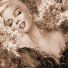 Marilyn Cherry Blossoms Sepia by TheoDanella