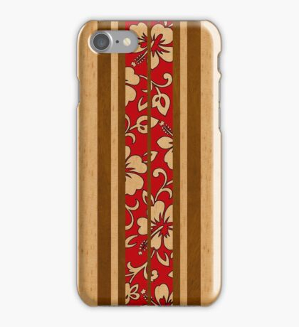 Pupukea Hawaiian Faux Koa Wood Surfboard with Red Hibiscus Pareau iPhone Case/Skin