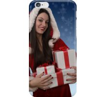 Christmas girl with gifts iPhone Case/Skin