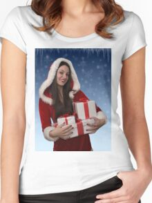 Christmas girl with gifts Women's Fitted Scoop T-Shirt