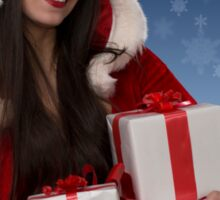 Christmas girl with gifts Sticker