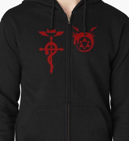 Fullmetal Alchemist O(u)roboros Homunculus Logo and Flamel Red Zipped Hoodie