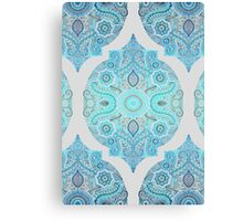 Through Ocean & Sky - turquoise & blue Moroccan pattern Canvas Print