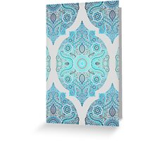 Through Ocean & Sky - turquoise & blue Moroccan pattern Greeting Card