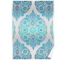 Through Ocean & Sky - turquoise & blue Moroccan pattern Poster