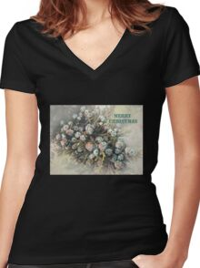"""All Spruced Up """"Merry Christmas"""" ~ Greeting Card Women's Fitted V-Neck T-Shirt"""