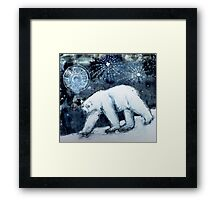 Polar bear under starry skies Framed Print