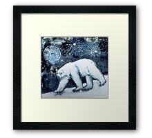 Polar bear under starry skies Framed Print