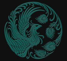 Traditional Teal Blue and Black Chinese Phoenix Circle Kids Clothes