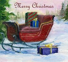 Sleigh Christmas Card by Brenda Thour