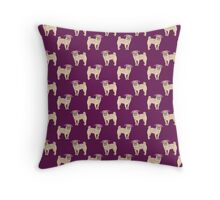 Pug dogs cute repeating pattern Throw Pillow