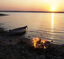 canoe and campfire by JeanO
